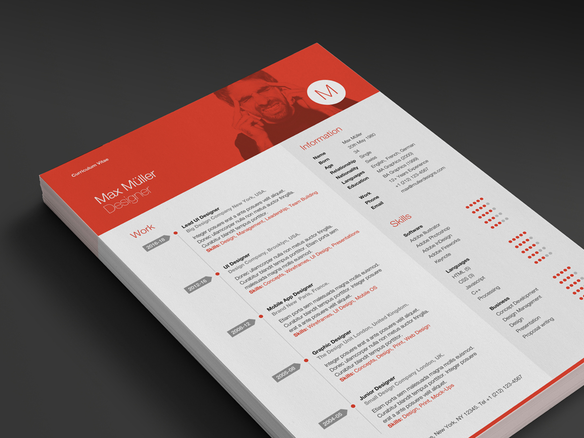 Neue swiss resume ikono the header features an easy to edit monogram or choose from 30 icons included yelopaper Gallery