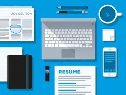 Job Winning Resume cover illustration with selection of resume items on desk