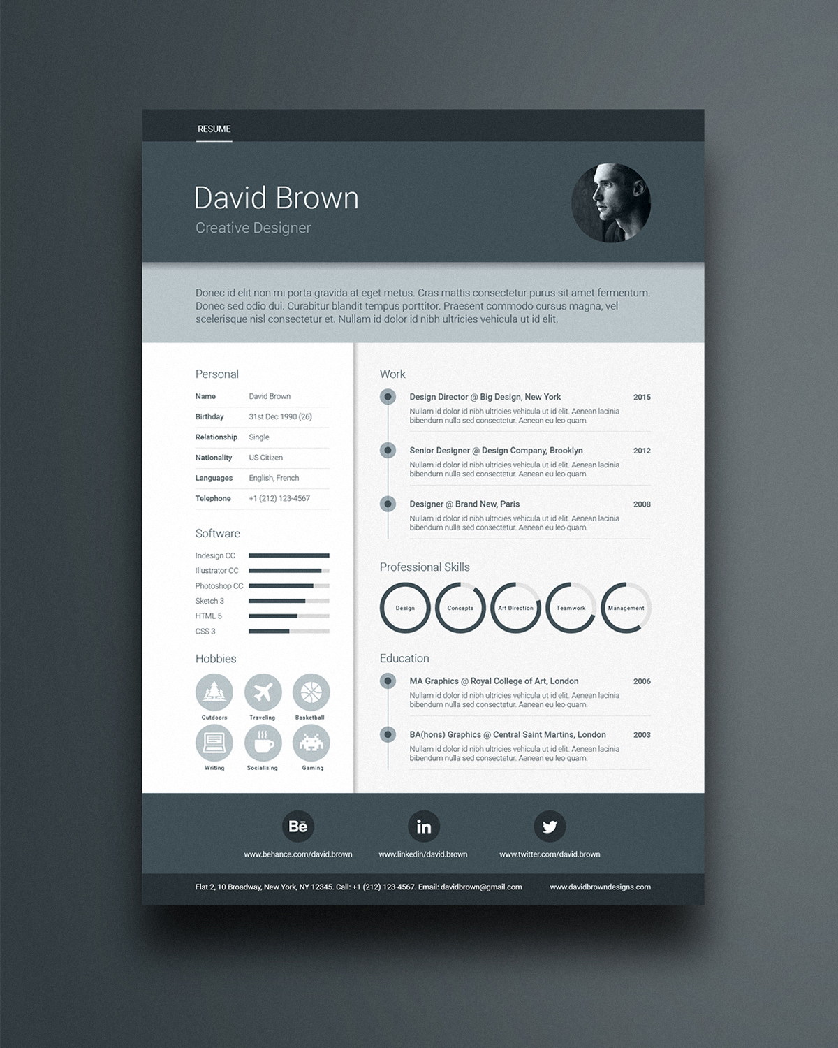 free a4 material resume template design