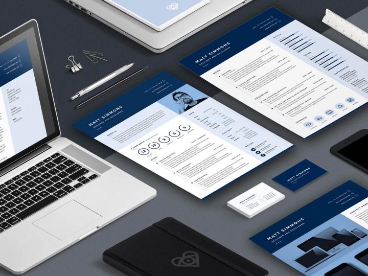 Desktop showing Pro Resume 2 layout design