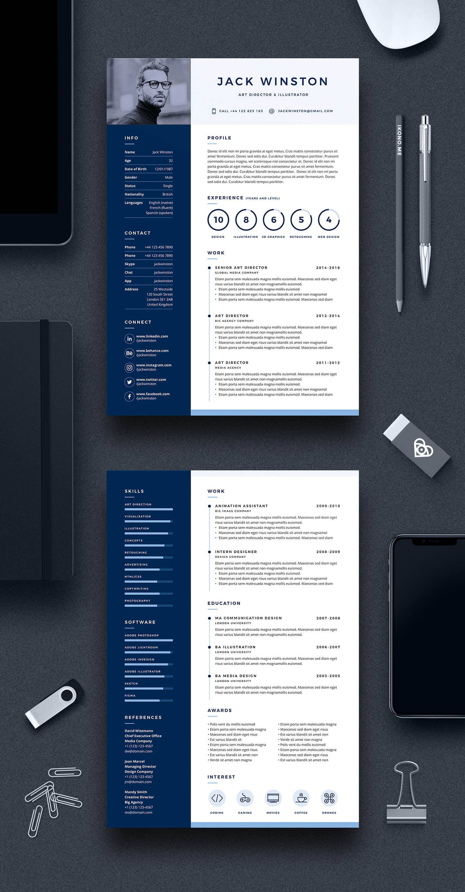 Pro Resume 2 Two Page Resume Template